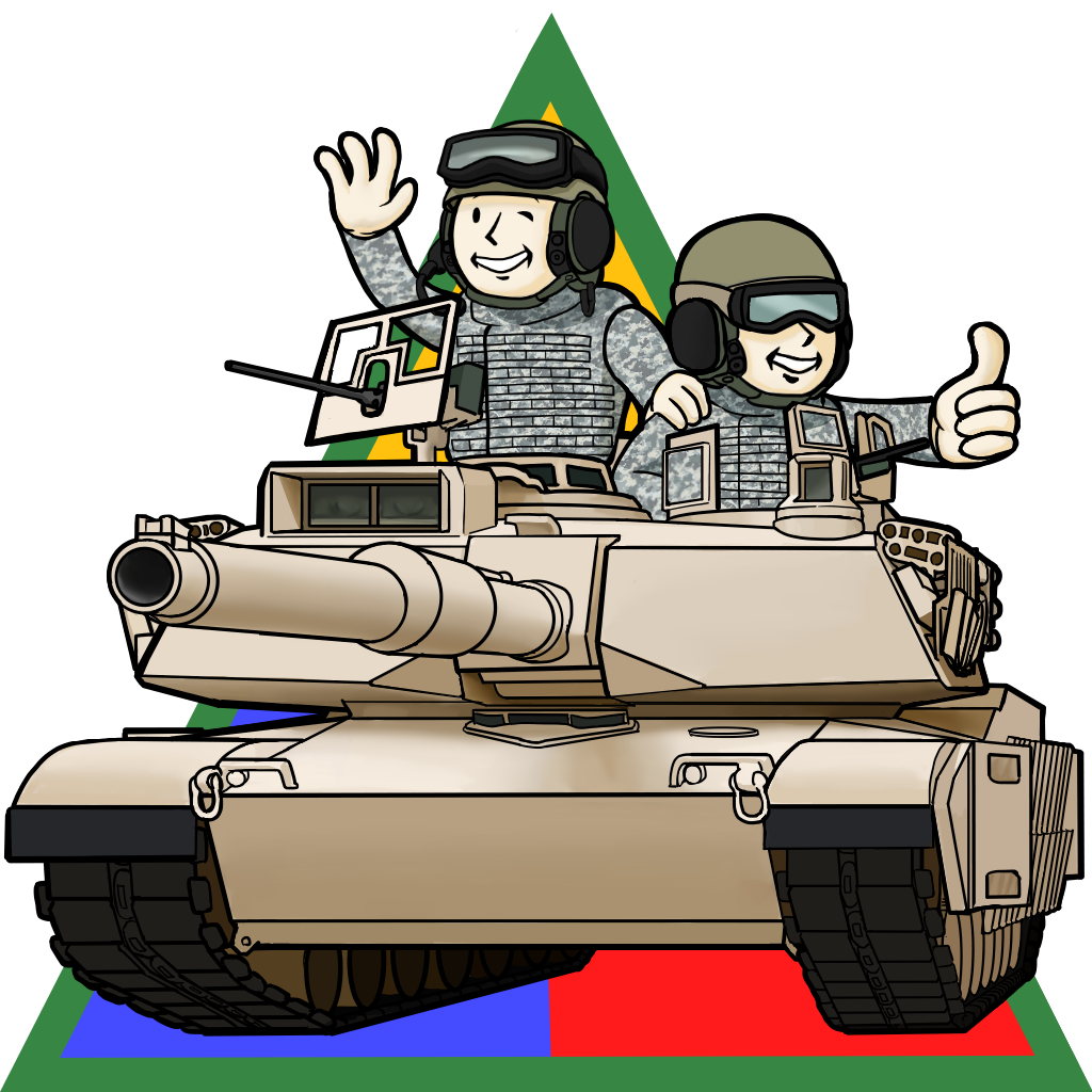 2boys caterpillar_tracks emblem english_commentary fallout_(series) ground_vehicle gun hand_up hat m1_abrams machine_gun military military_hat military_uniform military_vehicle motor_vehicle multiple_boys one_eye_closed smile tank thumbs_up uniform vault_boy weapon white_background wwwww_(sswwwww)