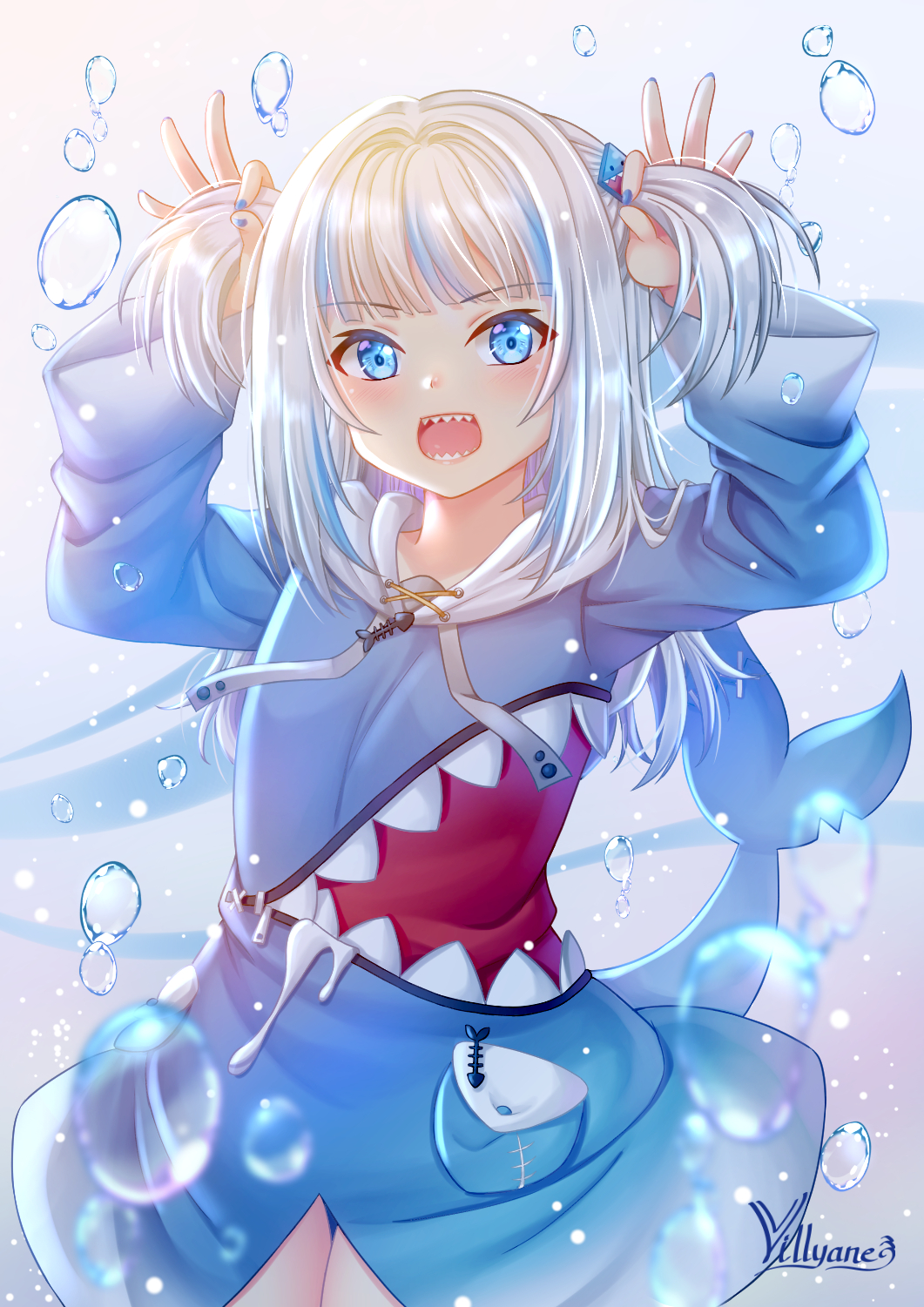 1girl :d artist_name bangs blue_eyes blue_hair blue_hoodie blue_nails blush bunching_hair commentary_request drawstring eyebrows_visible_through_hair gawr_gura hair_ornament highres hololive hololive_english hood hood_down hoodie long_hair long_sleeves looking_at_viewer multicolored_hair nail_polish open_mouth shark_tail sharp_teeth signature silver_hair smile solo streaked_hair tail teeth two_side_up villyane virtual_youtuber water_drop wide_sleeves