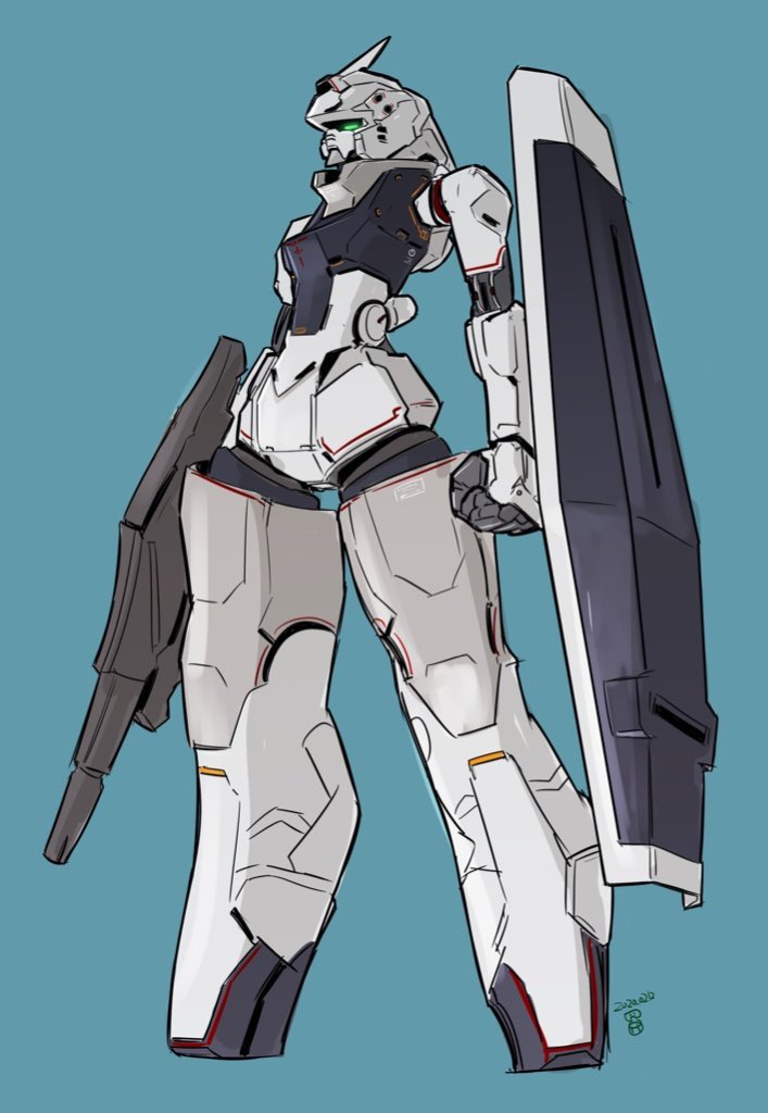 blue_background clenched_hand glowing glowing_eye green_eyes gun gundam holding holding_gun holding_weapon mecha moi_moi7 no_humans original shield solo standing weapon