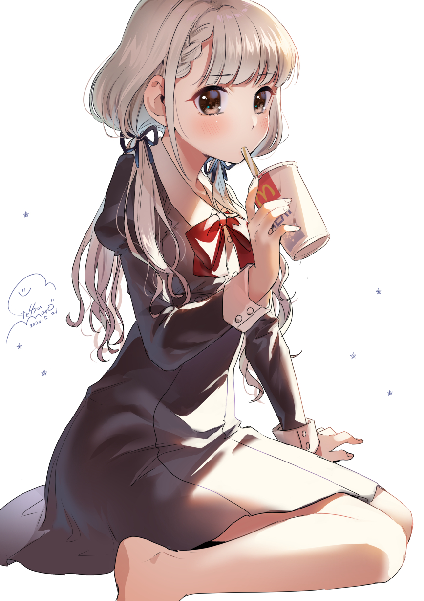 1girl bangs bare_legs barefoot black_dress blonde_hair blush brown_eyes cup dated disposable_cup dress drinking_straw eyebrows_visible_through_hair geshumaro hair_ribbon highres hisakawa_nagi idolmaster idolmaster_cinderella_girls long_hair long_sleeves mcdonald's mouth_hold red_neckwear ribbon signature simple_background sitting solo star_(symbol) wariza white_background