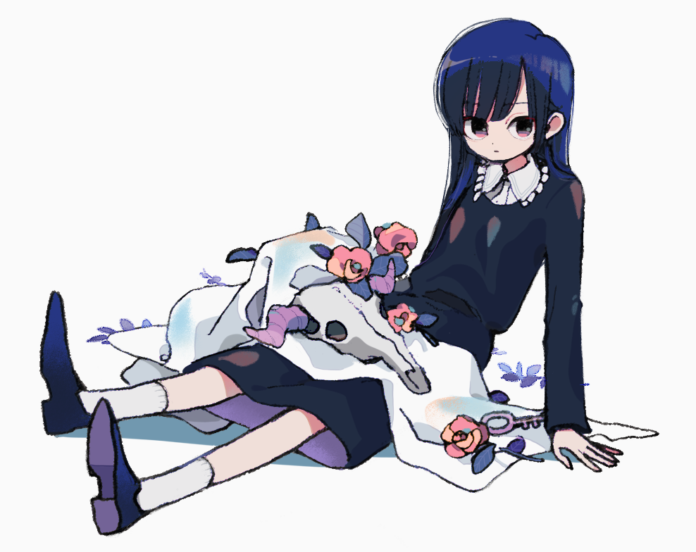 1girl animal_skull black_dress blue_dress blue_footwear blue_hair closed_mouth collared_shirt dress flower full_body ka_(marukogedago) leaning_back long_hair long_sleeves looking_at_viewer original pink_eyes purple_footwear red_flower red_rose rose shirt shoes simple_background sitting socks solo two-sided_dress two-sided_fabric white_background white_legwear white_shirt wing_collar