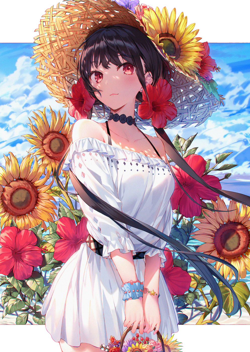 1girl bangs bare_shoulders black_hair blush bracelet breasts brown_headwear closed_mouth collarbone commentary day dress english_commentary eyebrows_visible_through_hair flower hair_flower hair_ornament hakuishi_aoi hat hat_flower highres holding jewelry long_hair long_sleeves looking_at_viewer low_twintails off-shoulder_dress off_shoulder original red_eyes red_flower single_wrist_cuff small_breasts solo straw_hat sunflower twintails very_long_hair white_dress wrist_cuffs yellow_flower