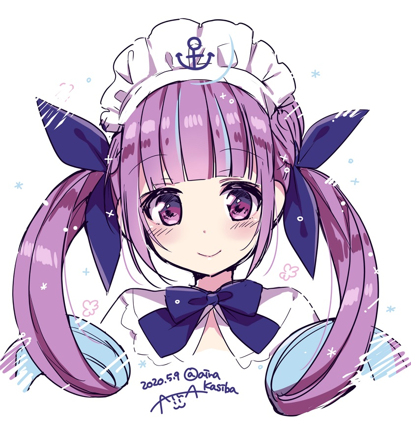 1girl anchor bangs blue_bow blue_hair blue_ribbon blush_stickers bow braid closed_mouth colored_inner_hair dated eyebrows_visible_through_hair hair_ribbon hololive kashiba_aira long_hair looking_at_viewer maid_headdress minato_aqua multicolored_hair portrait purple_hair ribbon sidelocks simple_background smile solo twintails twitter_username two-tone_hair violet_eyes virtual_youtuber white_background