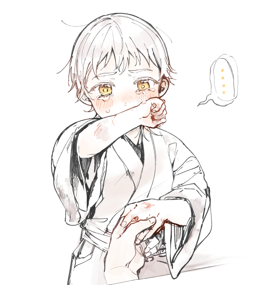 ... 1boy bangs blush bruise child covered_mouth crying crying_with_eyes_open cuts dirty dirty_clothes eyelashes hakama holding_hands injury japanese_clothes long_sleeves looking_at_viewer male_focus messy_hair out_of_frame outstretched_arm pov pov_hands runny_nose shichimi_(ftlvampire32) simple_background solo_focus spoken_ellipsis tears touken_ranbu tsurumaru_kuninaga white_background white_hair wiping_tears younger