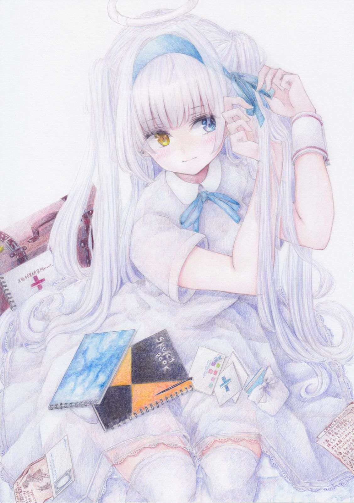 armband bag blush breasts colored_pencil_(medium) darkkanan dress graphite_(medium) hairband halo heterochromia highres kneeling large_breasts long_hair mail original shoes simple_background suitcase thigh-highs traditional_media twintails white_dress white_hair white_legwear