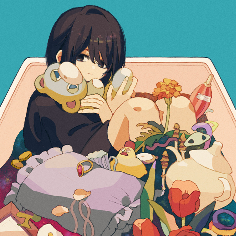 1girl black_hair black_shirt black_shorts blue_background box closed_mouth club_(shape) coin fingernails flower gold_coin in_box in_container jewelry ka_(marukogedago) looking_at_viewer mushroom orange_flower original petals pillow red_flower ring shiny shiny_hair shirt short_hair shorts simple_background solo stuffed_animal stuffed_toy tagme teapot teddy_bear tulip