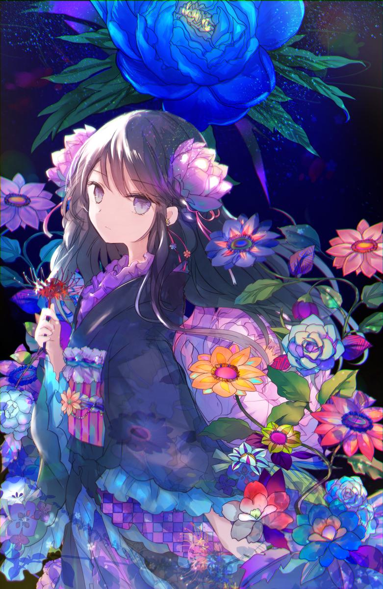 1girl black_hair flower hair_flower hair_ornament highres holding holding_flower japanese_clothes kazu_(muchuukai) kimono original solo spider_lily violet_eyes wide_sleeves