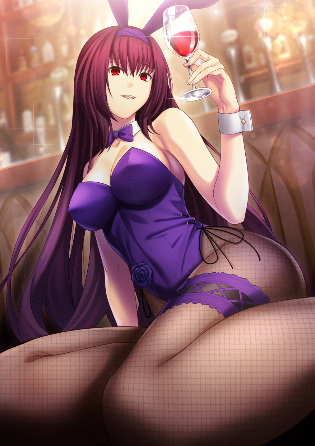 animal_ears bunny_girl bunnysuit cup detached_collar drinking_glass fake_animal_ears fate/grand_order fate_(series) fishnet_legwear fishnets highres leotard long_hair piercing_bunny purple_hair purple_leotard purple_neckwear rabbit_ears red_eyes scathach_(fate)_(all) scathach_(fate/grand_order) strapless strapless_leotard tawagoto_dukai_no_deshi wine_glass wrist_cuffs