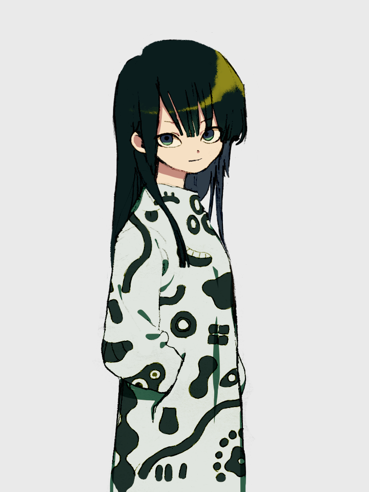 1girl closed_mouth dress from_side green_eyes green_hair hands_in_pockets ka_(marukogedago) looking_at_viewer looking_to_the_side original shiny shiny_hair simple_background smile solo standing white_background