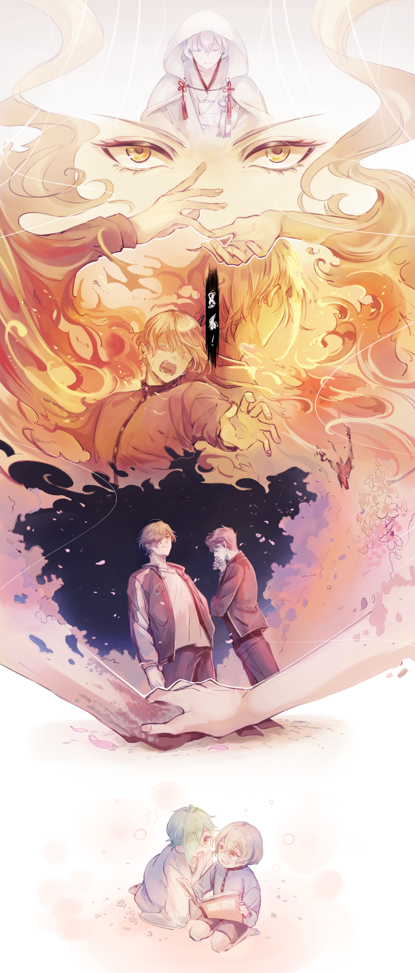 barefoot blonde_hair book burn_scar burning calling character_request child cloak close-up closed_eyes crying dutch_angle eye_contact eyes_visible_through_hair facing_away facing_viewer fire flower frown green_hair hair_over_eyes hair_over_one_eye hand_on_another's_hand higekiri_(touken_ranbu) highres hizamaru_(touken_ranbu) hood hood_up hooded_cloak jacket japanese_clothes kneeling leaning_forward long_sleeves looking_at_another looking_at_viewer multiple_boys night night_sky one_eye_covered open_book out_of_frame outstretched_hand pants petals profile reaching reaching_out reading scar seiza shichimi_(ftlvampire32) shorts sitting sky sleeves_past_fingers sleeves_past_wrists smoke standing streaming_tears tassel tears touken_ranbu translation_request uguisumaru wind yellow_eyes