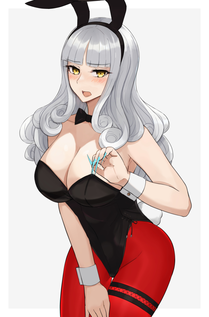 1girl alternate_costume animal_ears black_leotard black_neckwear blue_nails breasts bunny_girl bunny_tail bunnysuit carmilla_(fate/grand_order) cowboy_shot curly_hair detached_collar fake_animal_ears fake_tail fate/grand_order fate_(series) fingernails grey_background grey_hair kozara14 large_breasts leotard long_fingernails nail_polish pantyhose rabbit_ears red_legwear sharp_fingernails side-tie_leotard simple_background solo standing strapless strapless_leotard tail wrist_cuffs yellow_eyes