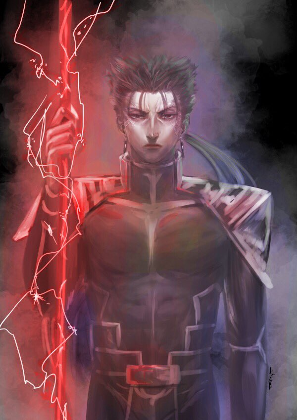 1boy angry armor bodysuit closed_mouth cu_chulainn_(fate)_(all) earrings electricity fate/stay_night fate_(series) frown gae_bolg holding holding_weapon jewelry lancer long_hair looking_at_viewer polearm ponytail shoulder_armor smoke solo spear spiky_hair sutocking type-moon veins weapon