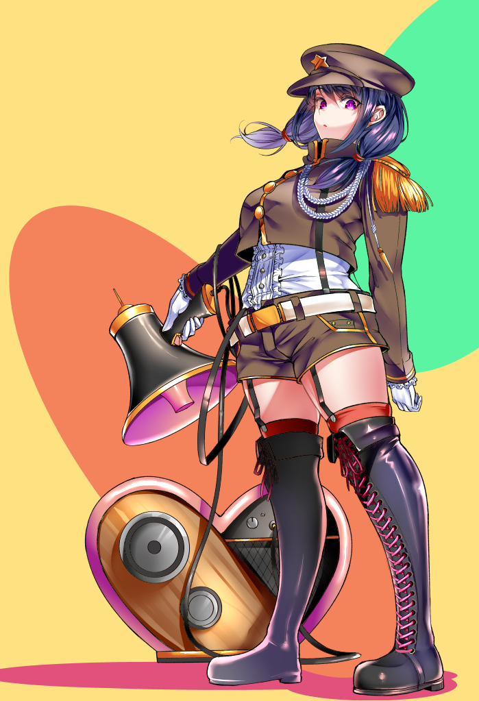1girl :o aiguillette alternate_costume belt black_footwear boots breasts chiku_(gesu) commentary_request epaulettes floating_hair full_body gloves green_background hat holding holding_megaphone long_hair looking_at_viewer low_twintails megaphone military military_hat military_uniform multicolored multicolored_background orange_background purple_hair shiny shiny_hair solo standing tamura_yuri thigh-highs thigh_boots thighs twintails uniform violet_eyes watashi_ga_motenai_no_wa_dou_kangaetemo_omaera_ga_warui! white_gloves yellow_background