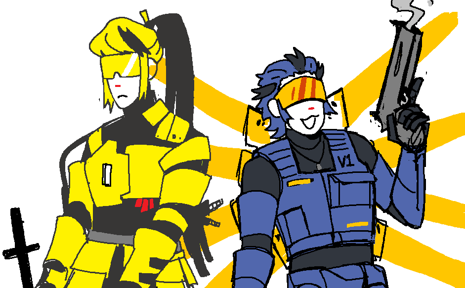 2others :3 :d armor black_bodysuit blonde_hair blue_hair blue_theme bodysuit english_commentary expressionless flat_color glowing glowing_wings gun hair_slicked_back handgun head_mounted_display high_ponytail holding holding_gun holding_weapon insignia long_hair mecha_danshi mechanical_wings mspaint multicolored_hair multiple_others onewholeunit open_mouth orange_wings personification pistol ponytail sidelocks smile streaked_hair sword swordsmachine trigger_discipline turtleneck two-tone_hair ultrakill v1_(ultrakill) vest visor weapon white_background wings yellow_theme