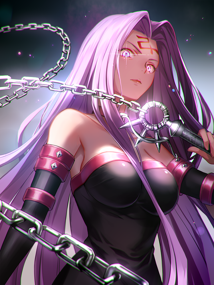 1girl 6688km angry arm_at_side bare_shoulders black_dress breasts chain choker closed_mouth detached_sleeves dress facial_mark fate/stay_night fate_(series) forehead_mark from_below frown glint glowing glowing_eyes holding holding_weapon large_breasts light_particles lips long_hair looking_at_viewer medusa_(fate)_(all) nameless_dagger purple_hair rider solo strapless strapless_dress tube_dress type-moon ufotable upper_body violet_eyes weapon