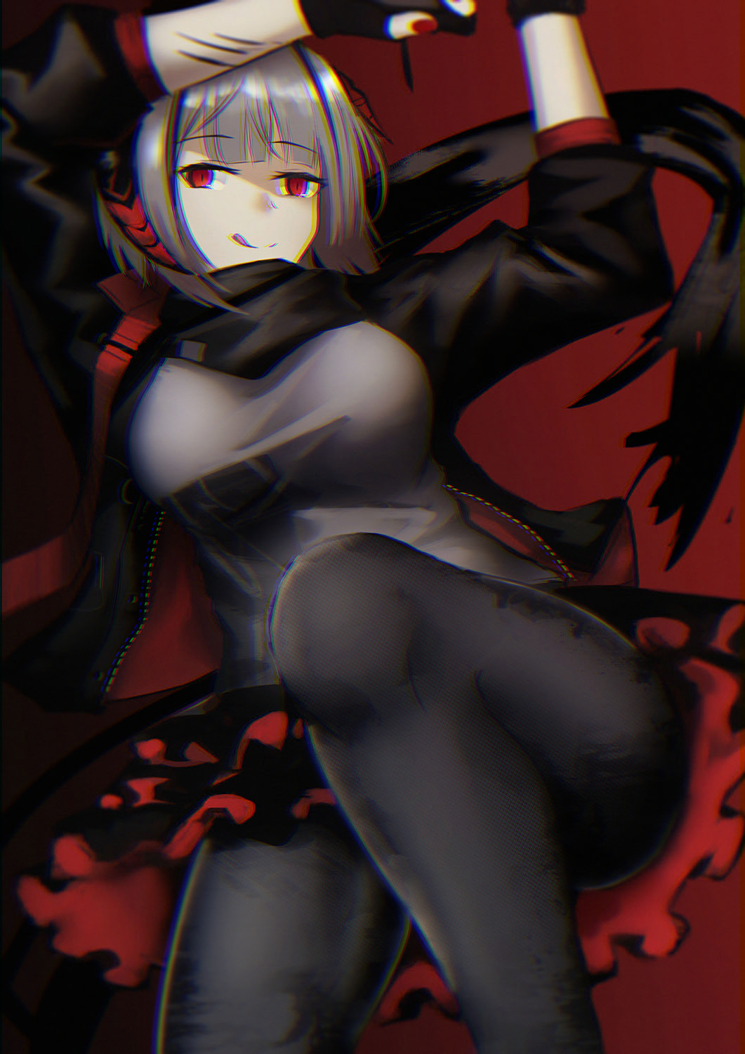 1girl arknights black_gloves black_jacket black_legwear black_scarf breasts closed_mouth eyebrows_visible_through_hair gloves grey_hair grey_shirt highres jacket knee_up lipstick lodbyy looking_at_viewer lying makeup medium_breasts medium_hair nail_polish on_back open_clothes open_jacket pantyhose red_eyes scarf shirt silver_hair simple_background skirt solo tongue tongue_out w_(arknights)