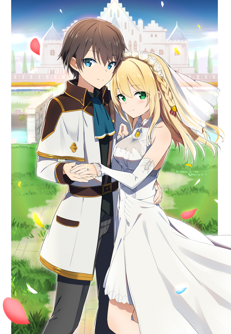 1boy 1girl ascot bangs bare_shoulders black_hair black_shirt blonde_hair blue_eyes blue_neckwear blush brown_hair building closed_mouth commentary_request copyright_request cover cover_page day detached_sleeves dress eyebrows_visible_through_hair flower glint gochou_(atemonai_heya) green_eyes grey_pants hair_between_eyes hair_flower hair_ornament holding_hand jacket jewelry long_hair long_sleeves novel_cover novel_illustration official_art open_clothes open_jacket outdoors pants petals ring rose see-through shirt sleeveless sleeveless_dress sleeves_past_wrists smile standing veil wedding_band wedding_dress white_dress white_flower white_jacket white_rose white_sleeves