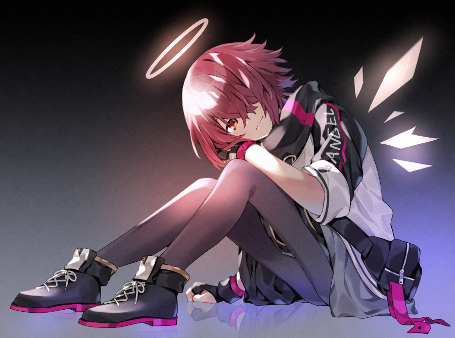 1girl akagashi_hagane arknights black_footwear commentary cross-laced_footwear detached_wings exusiai_(arknights) fingerless_gloves full_body gloves grey_background grey_legwear hair_over_one_eye halo jacket knees_up looking_at_viewer pantyhose pouch red_eyes redhead reflection shoes short_hair sitting solo white_jacket wings