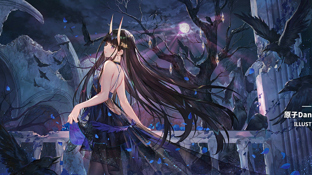 1girl alternate_costume artist_name atdan azur_lane bangs bare_shoulders bare_tree bird black_hair black_legwear blush breasts clouds cloudy_sky crow dress flower full_moon game_cg hair_ornament hairclip horns long_hair looking_at_viewer medium_breasts moon night noshiro_(azur_lane) noshiro_(the_gala's_sanctuary)_(azur_lane) official_art oni_horns pantyhose petals sky sleeveless sleeveless_dress solo tree very_long_hair violet_eyes