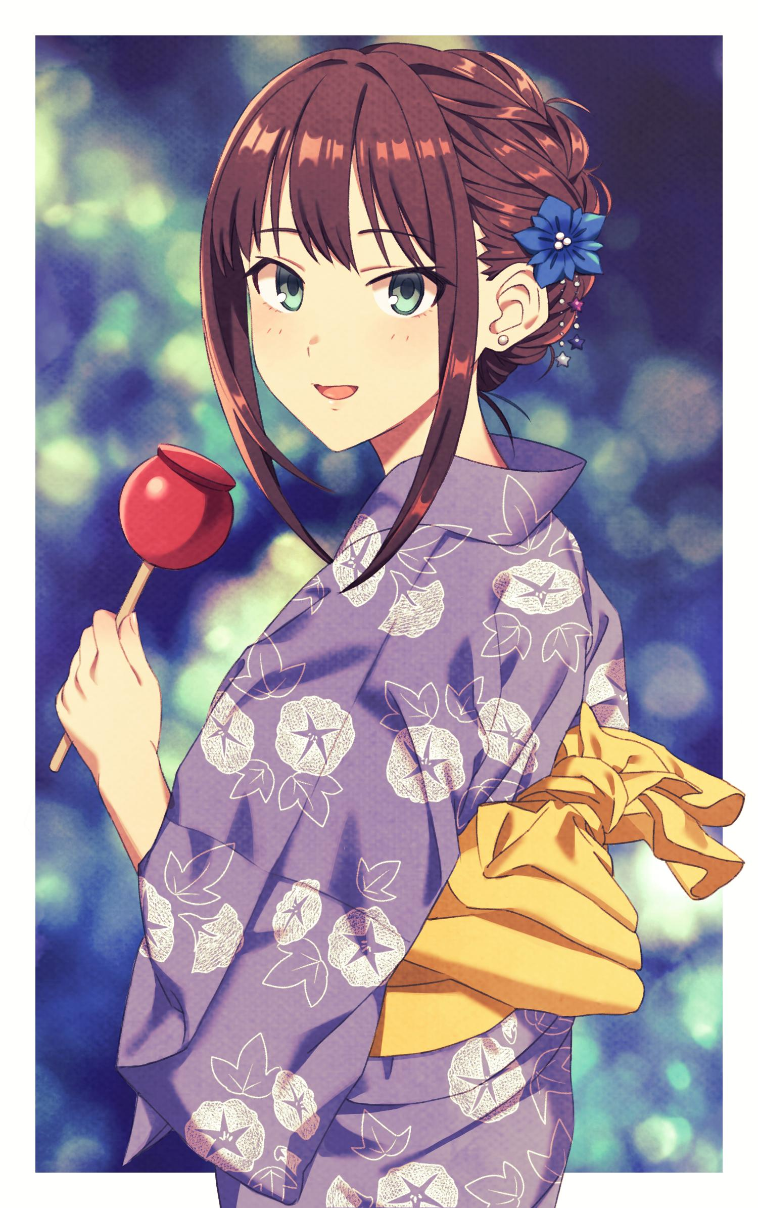 1girl brown_hair candy_apple earrings floral_print flower food green_eyes hair_flower hair_ornament highres idolmaster idolmaster_cinderella_girls iichiko_(398016) japanese_clothes jewelry kimono long_hair looking_back obi sash shibuya_rin solo tied_hair yukata