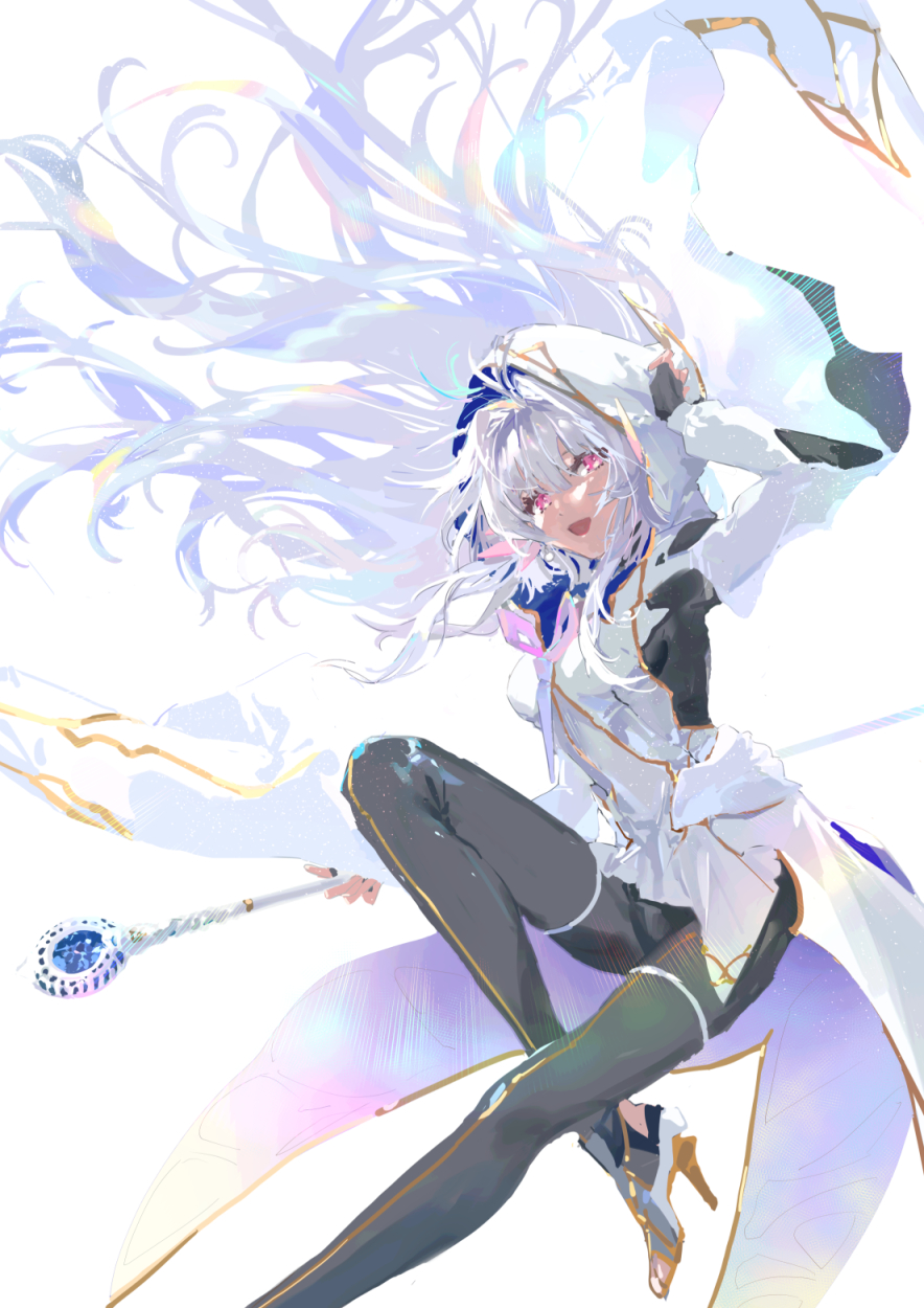 1girl :d bodysuit fate/grand_order fate/prototype fate_(series) fingerless_gloves gloves hair_intakes high_heels highres hood hood_up kat_(4681526) long_hair merlin_(fate/prototype) open_mouth pink_eyes simple_background skin_tight smile solo staff white_background white_hair