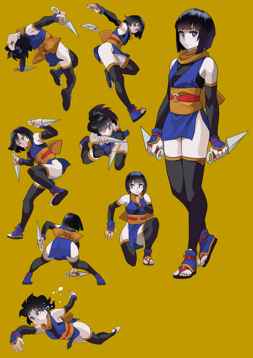 1girl :t action air_bubble arm_guards backflip bangs bare_shoulders black_hair black_legwear blue_eyes blue_kimono blunt_bangs bob_cut bubble closed_eyes detached_sleeves dual_wielding facing_away finger_to_mouth floating_hair freediving gesogeso hand_on_wall hand_up highres holding holding_breath holding_weapon index_finger_raised japanese_clothes jumping kimono kunai looking_at_viewer makeup mascara multiple_views ninja o-ring obi one_eye_closed one_knee original outstretched_arms pale_skin panties pantyshot parted_lips pelvic_curtain red_panties reverse_grip sandals sash scarf shoe_soles short_hair short_kimono shushing simple_background spread_arms squatting standing standing_on_one_leg stirrup_legwear submerged swimming throwing toeless_legwear underwear weapon wince yellow_background