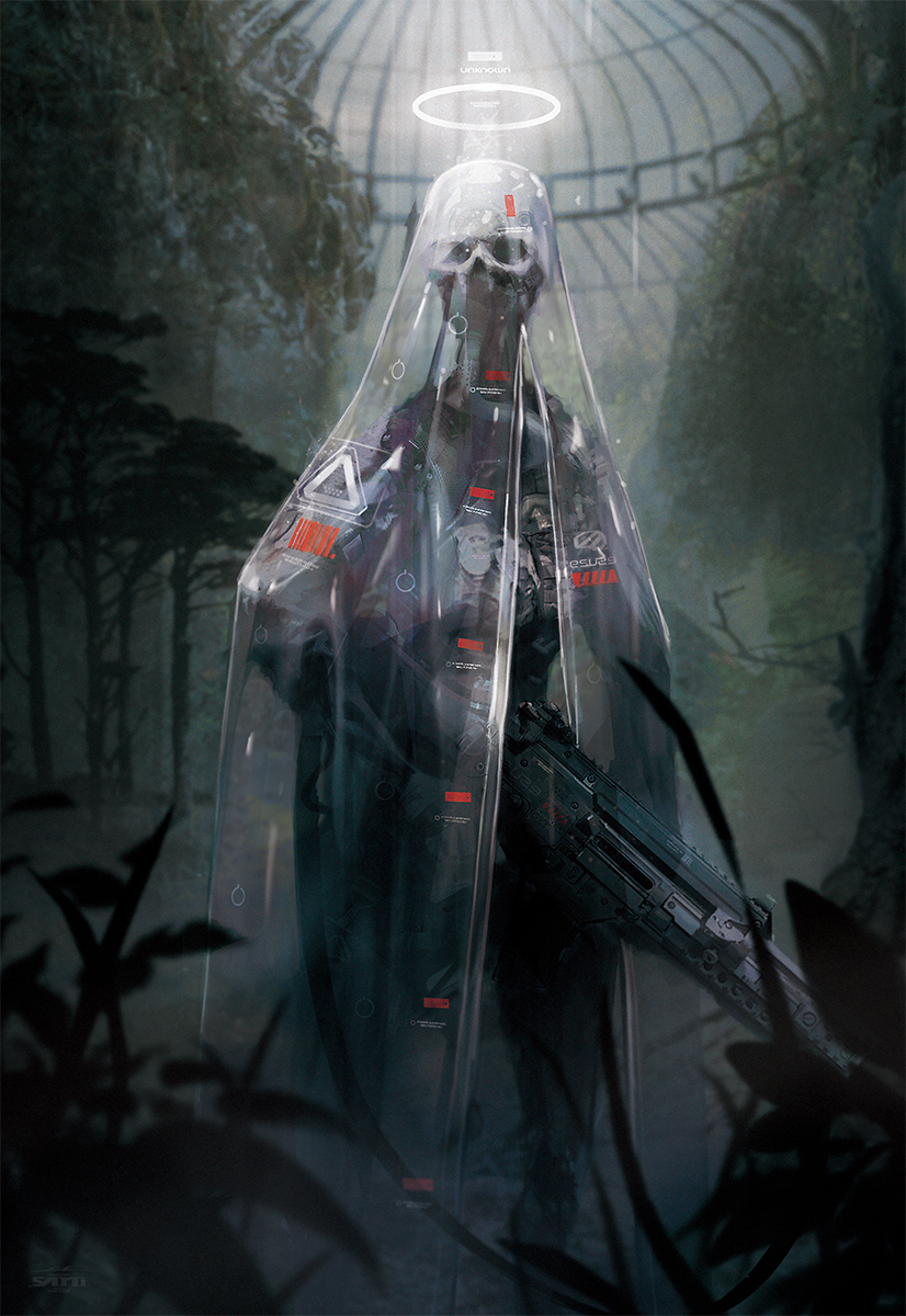 baikoku_no_terror cover cover_page esuthio gun halo highres holding holding_gun holding_weapon looking_to_the_side no_humans novel_cover official_art robot science_fiction skull solo standing veil weapon