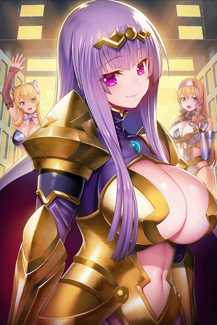 3girls armor bangs belt bikini_armor black_panties blonde_hair blue_eyes blunt_ends boots bow bowtie braid breastplate breasts cape center_opening circlet claudette_(queen's_blade) cleavage_cutout closed_mouth clothing_cutout curvy elina eyebrows_visible_through_hair gauntlets gem gloves gold_armor greaves hair_ornament hairband halterneck hand_up headband headgear large_breasts leina loincloth long_hair looking_at_viewer multiple_girls navel navel_cutout night official_art open_mouth outdoors outline panties pink_lips purple_hair queen's_blade queen's_blade_unlimited queen's_blade_white_triangle red_cape revealing_clothes shoulder_armor siblings side_braids sidelocks sisters smile spaulders standing straight_hair turtleneck underwear violet_eyes waving white_neckwear