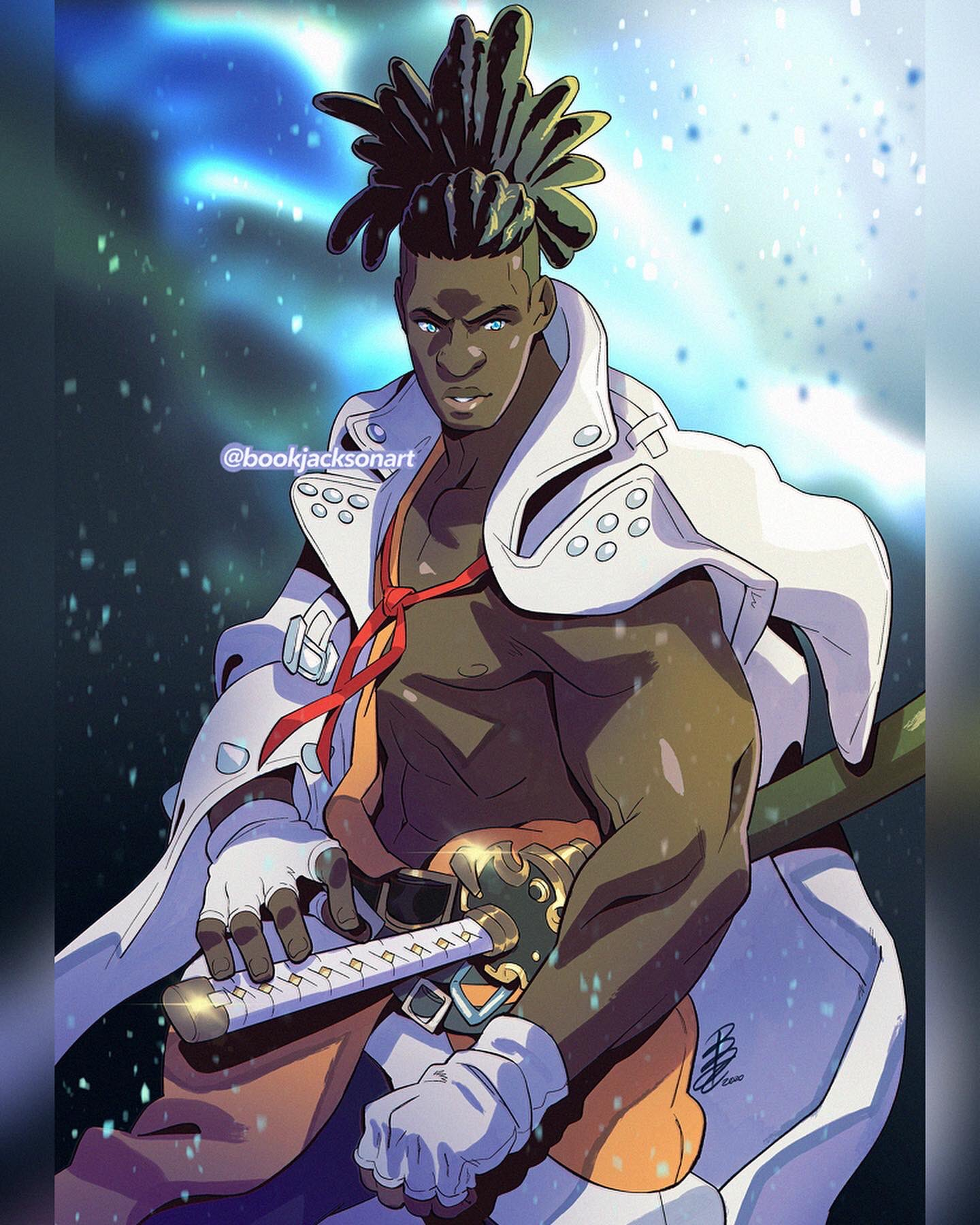 1boy abs arm_out_of_sleeve belt blue_eyes book_jackson commentary dark_skin dark_skinned_male english_commentary fighting_stance fingerless_gloves gloves guilty_gear guilty_gear_strive hairlocs hand_on_hilt highres jacket katana lips long_hair male_focus muscle nagoriyuki nose ponytail scabbard sheath sheathed solo standing sword undercut very_dark_skin weapon white_gloves white_jacket