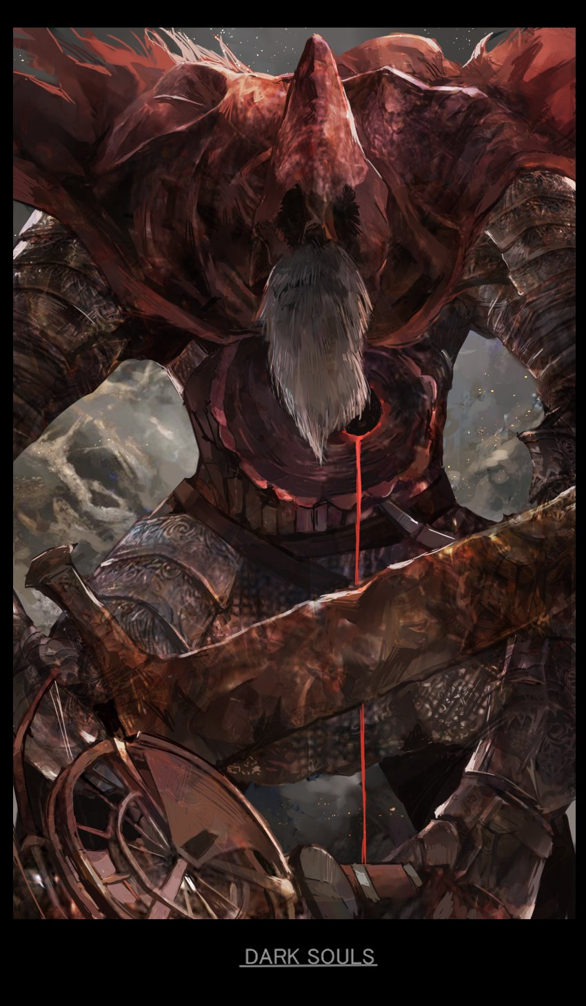 1boy armor beard black_border border breastplate cape copyright_name cowboy_shot dark_souls_iii faceless faceless_male facial_hair facing_viewer faulds gauntlets grey_hair highres holding holding_sword holding_weapon hole_in_chest hood hood_up knight male_focus mono_(jdaj) red_cape shoulder_armor slave_knight_gael solo souls_(from_software) spaulders standing sword weapon