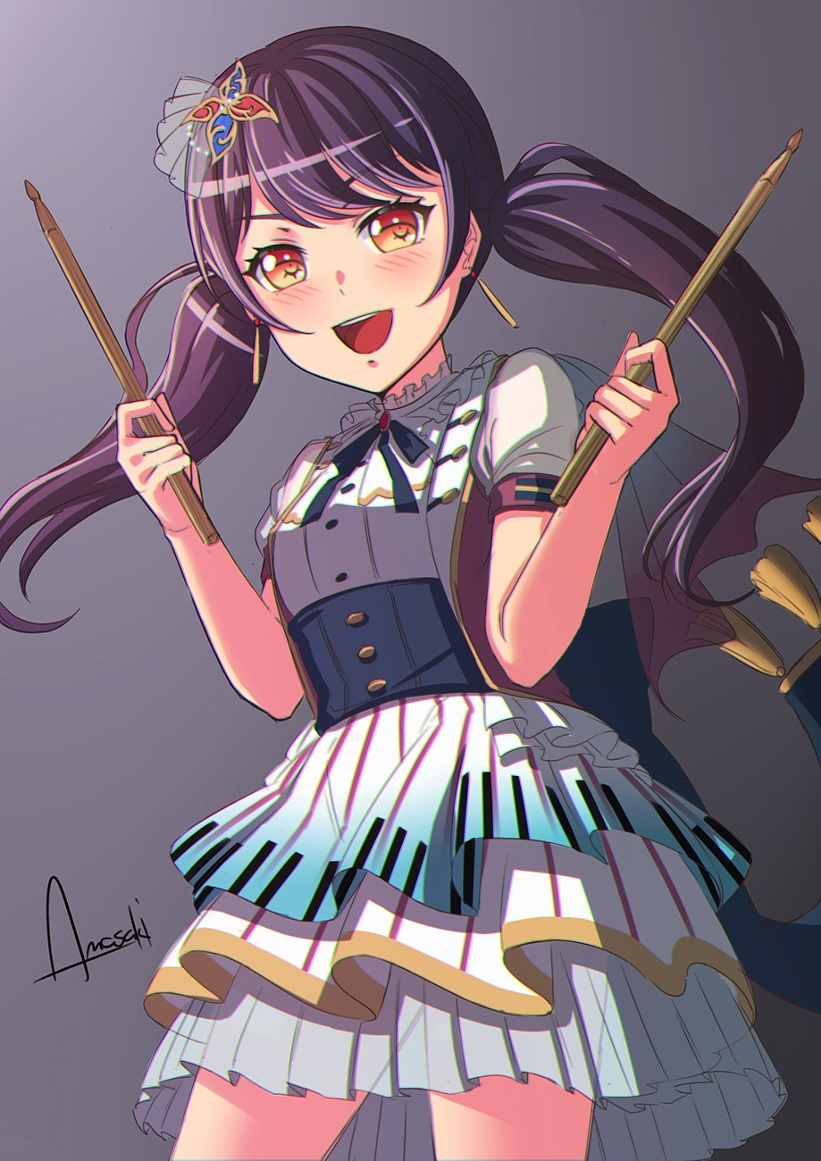 1girl amasaki_yusuke artist_name bang_dream! black_hair brown_eyes drumsticks futaba_tsukushi gradient gradient_background highres holding holding_drumsticks looking_at_viewer open_mouth signature smile solo twintails