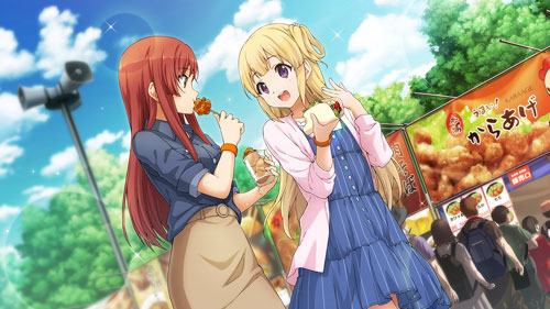 22/7 blonde_hair blush dress fujima_sakura long_hair smile violet_eyes