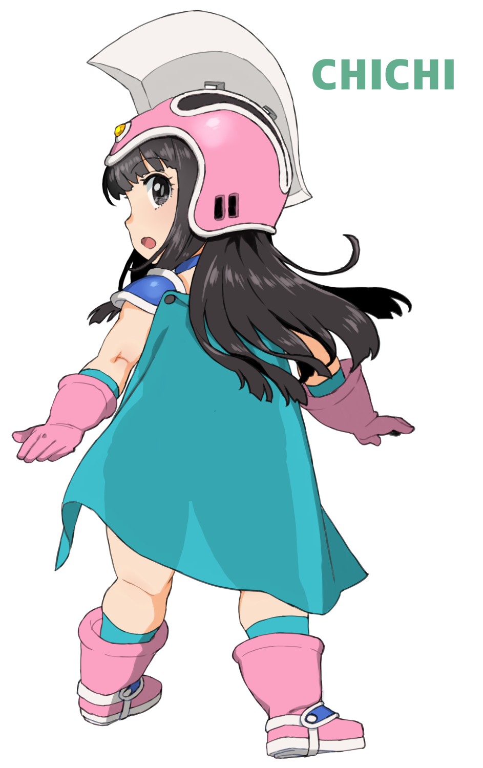 1girl armor black_eyes black_hair boots cape character_name chi-chi_(dragon_ball) child dragon_ball dragon_ball_(classic) from_behind full_body gloves green_cape helmet highres kneepits long_hair looking_back murderhouse open_mouth pauldrons pink_footwear pink_gloves pink_headwear see-through see-through_silhouette shoulder_armor silhouette simple_background solo wakaho_riku white_background