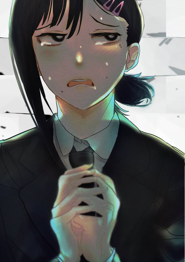 1girl black_eyes black_hair black_neckwear black_suit business_suit chainsaw_man collared_shirt formal hair_ornament hands_together higashiyama_kobeni looking_at_viewer md5_mismatch medium_hair mole mole_on_cheek mole_under_eye mole_under_mouth multiple_moles necktie open_mouth ponytail resolution_mismatch scared shirt solo source_larger suit sweat tearing_up tears yuu_matudo
