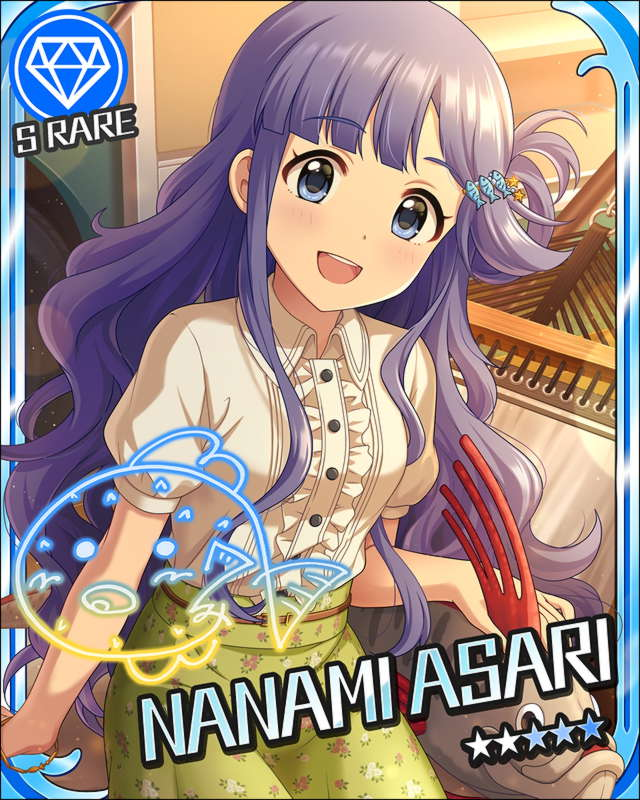 asari_nanami blue_eyes blue_hair blush character_name dress idolmaster idolmaster_cinderella_girls long_hair smile stars