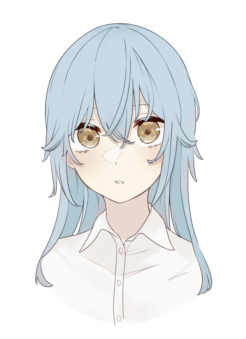 1other androgynous bangs blue_hair collar collared_shirt fu_ku1_437 hair_between_eyes long_hair looking_at_viewer open_mouth rimuru_tempest shirt simple_background solo tensei_shitara_slime_datta_ken white_background white_shirt yellow_eyes