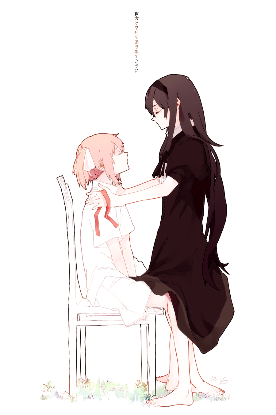 2girls akemi_homura arm_support bare_legs barefoot between_legs black_capelet black_dress black_hair black_hairband capelet center_frills chair closed_eyes crying dress expressionless eyelashes fabric face-to-face flat_chest frills from_side frown full_body funeral_dress grass hair_ribbon hairband hand_between_legs hands_on_another's_shoulders hanyae high_collar highres holding homulilly jitome kaname_madoka long_hair mahou_shoujo_madoka_magica mahou_shoujo_madoka_magica_movie multiple_girls no_mouth on_chair pink_hair profile ribbon sad shirt short_sleeves short_twintails sidelocks simple_background sitting skirt standing straight_hair tears translation_request twintails very_long_hair white_background white_ribbon white_shirt white_skirt