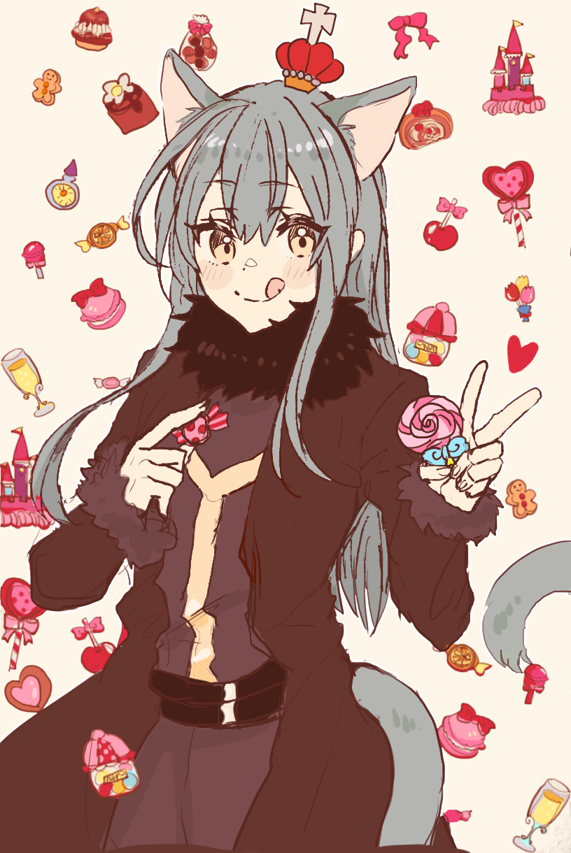 1other androgynous animal_ears bangs blue_hair blush candy closed_mouth eyebrows_visible_through_hair food fur fur_collar fur_scarf fur_trim gingerbread_man hair_between_eyes highres licking_lips lollipop long_hair looking_at_viewer ribbon rimuru_tempest sakusan_yousoeki scarf simple_background smile solo sweets tail tensei_shitara_slime_datta_ken tongue tongue_out v wolf_ears wolf_girl wolf_tail yellow_eyes