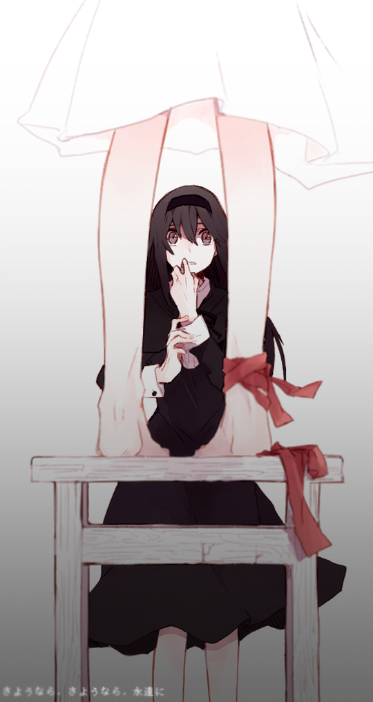 2girls akemi_homura ankle_ribbon bare_legs barefoot black_dress black_eyes black_hair black_hairband chair darkness dress fabric facing_viewer feet feet_out_of_frame fingernails from_behind hair_between_eyes hairband hand_to_own_mouth hands_up hanyae homulilly kaname_madoka legs_apart long_dress long_hair long_sleeves looking_at_another looking_up lower_body mahou_shoujo_madoka_magica mahou_shoujo_madoka_magica_movie multiple_girls parted_lips red_ribbon ribbon shaded_face simple_background standing standing_on_chair surprised translation_request vignetting white_background white_dress wide-eyed