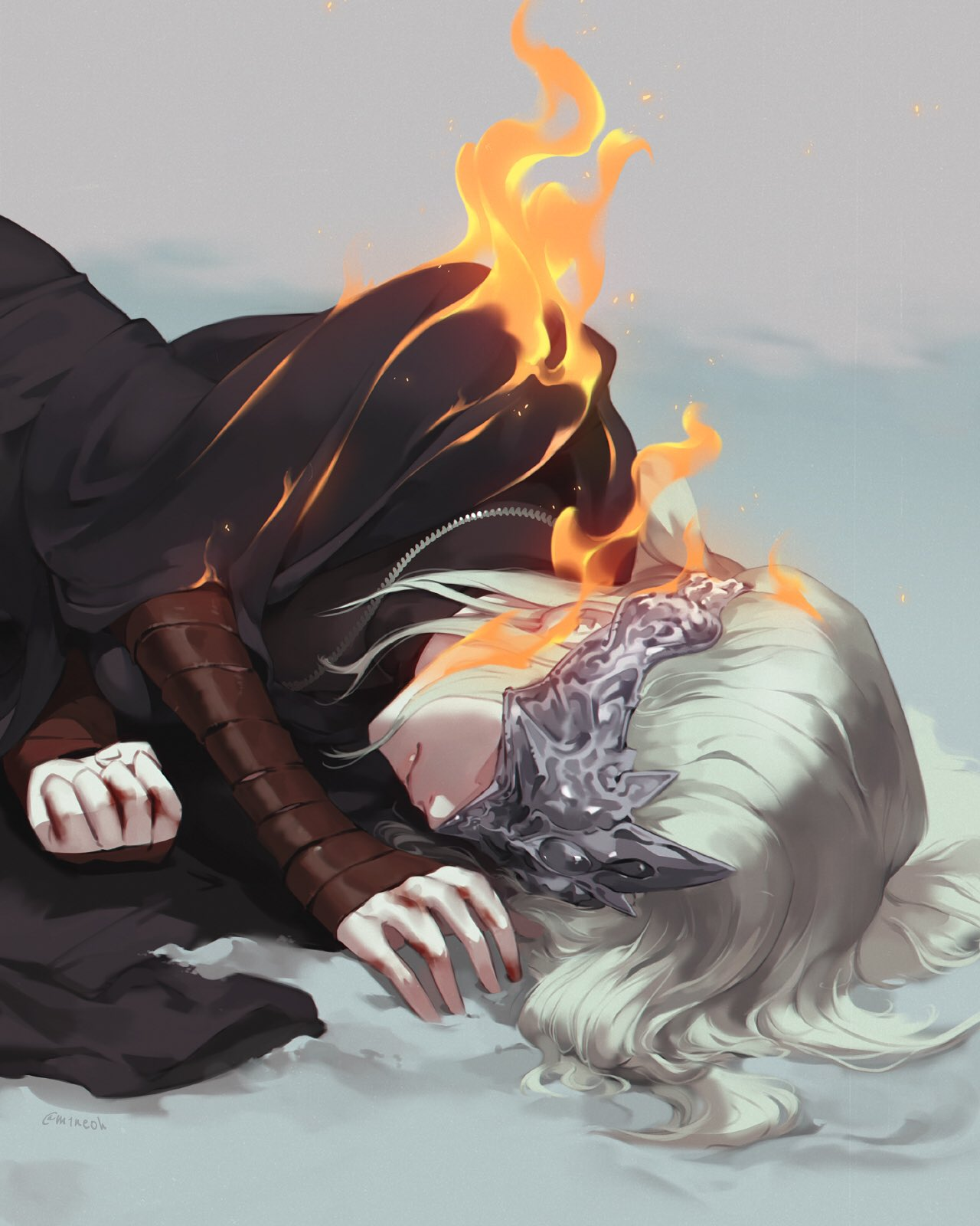 1girl arm_wrap black_robe blindfold burning closed_mouth commentary covered_eyes dark_souls_iii facing_viewer fire fire_keeper grey_background highres jewelry jiro_(ninetysix) long_hair lying mask necklace on_side robe silver_hair solo souls_(from_software) upper_body