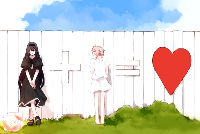 2girls akemi_homura arms_behind_back bare_legs barefoot black_capelet black_dress black_footwear black_hair black_hairband black_ribbon blue_sky box capelet closed_eyes closed_mouth clouds cloudy_sky crossed_ankles day dress equal_sign expressionless eyebrows_visible_through_hair facing_viewer fence flat_chest funeral_dress grass hair_ribbon hairband hanyae happy heart high_collar homulilly kaname_madoka long_hair looking_at_another looking_to_the_side mahou_shoujo_madoka_magica mahou_shoujo_madoka_magica_movie multiple_girls neck_ribbon outdoors pink_hair plus_sign ribbon see-through shadow shirt shoes short_sleeves short_twintails skirt skirt_lift sky smile socks standing sunlight symbolism twintails v_arms white_hair white_legwear white_shirt white_skirt wind wind_lift wooden_fence yuri