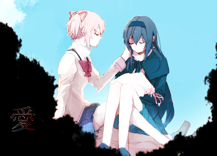 2girls akemi_homura arm_support bare_legs black_capelet black_dress black_hair black_hairband black_ribbon blue_sky blurry blurry_foreground capelet check_translation closed_eyes closed_mouth crying depth_of_field dot_nose dress eyelashes facing_away flat_chest from_side hair_between_eyes hair_ribbon hairband hand_on_another's_cheek hand_on_another's_face hand_up hanyae high_collar homulilly jewelry juliet_sleeves kaname_madoka knees_up light_smile long_hair long_sleeves mahou_shoujo_madoka_magica mahou_shoujo_madoka_magica_movie mitakihara_school_uniform multiple_girls neck_ribbon no_mouth pink_hair plaid plaid_skirt pleated_skirt profile puffy_sleeves red_ribbon ribbon sad school_uniform shaded_face short_twintails sidelocks single_earring sitting skirt sky tears translation_request twintails u_u uniform