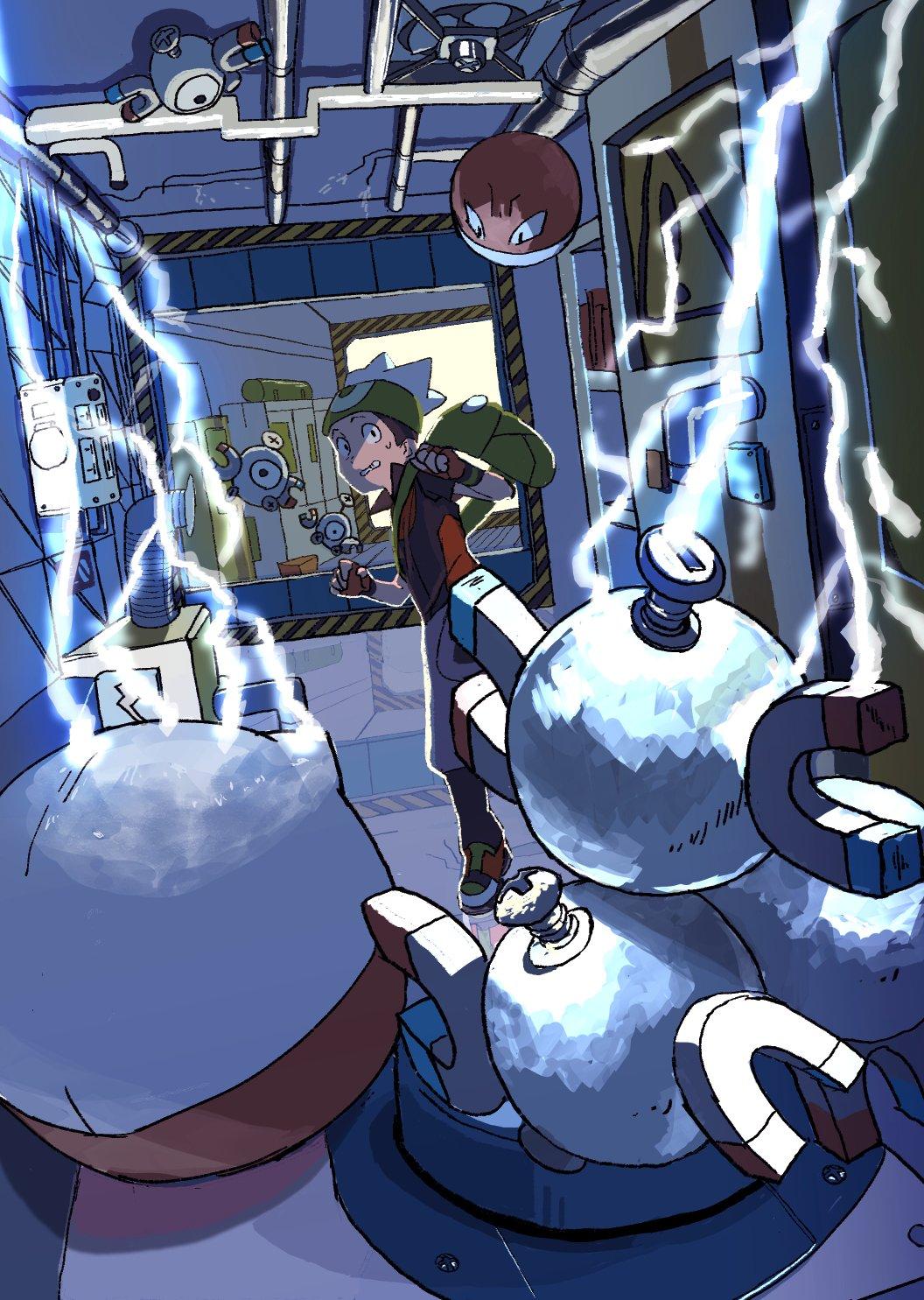 1boy banana_(okashi_to_satougashi) beanie brendan_(pokemon) capri_pants electricity electrode gen_1_pokemon hat highres holding holding_poke_ball indoors looking_back magnemite magneton pants parted_lips pipe poke_ball poke_ball_(basic) pokemon pokemon_(creature) pokemon_(game) pokemon_emerald pokemon_rse reflective_floor shoes sweatdrop teeth voltorb white_headwear worried