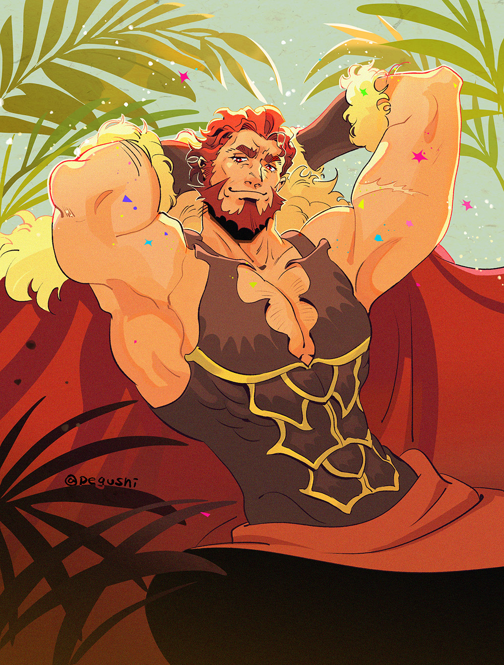 1boy armpits arms_behind_head bara beard breastplate cape chest chest_hair cleavage_cutout clothing_cutout facial_hair fate/grand_order fate/zero fate_(series) fur-trimmed_cape fur_trim highres iskandar_(fate) leather looking_at_viewer male_focus manly muscle pegushi plant raised_eyebrow red_cape red_eyes redhead short_hair smug solo sparkle upper_body