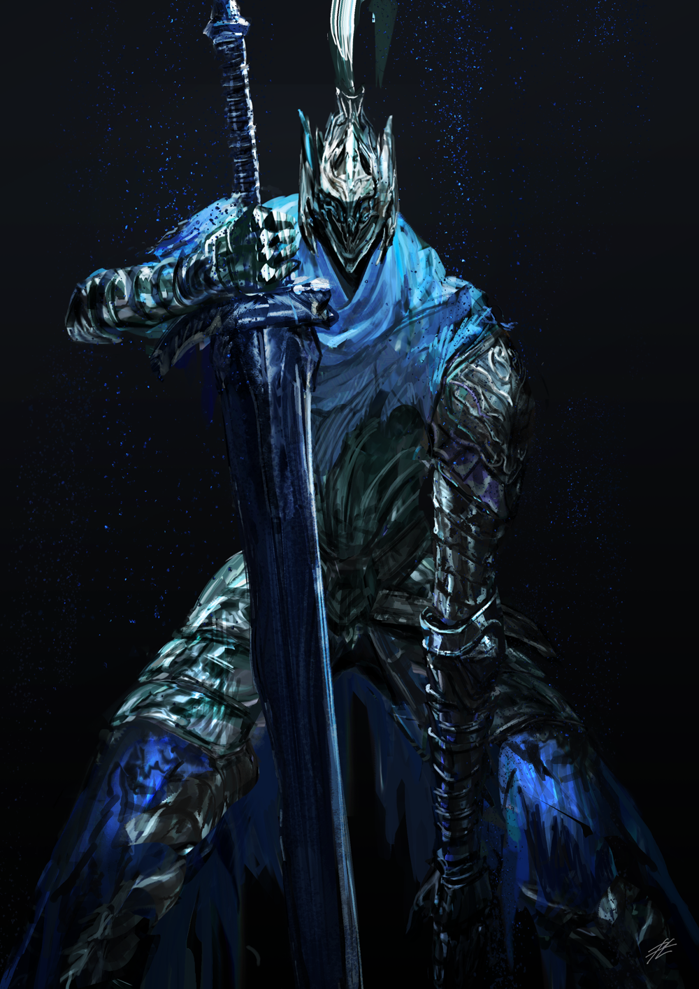 1boy armor artorias_the_abysswalker black_background blue_capelet breastplate capelet commentary_request cowboy_shot dark_souls faceless faceless_male facing_viewer faulds full_armor gauntlets greatsword greaves helmet highres holding holding_sword holding_weapon knight light_particles male_focus mrpk pauldrons planted_sword planted_weapon plume shoulder_armor solo souls_(from_software) standing sword waist_cape weapon