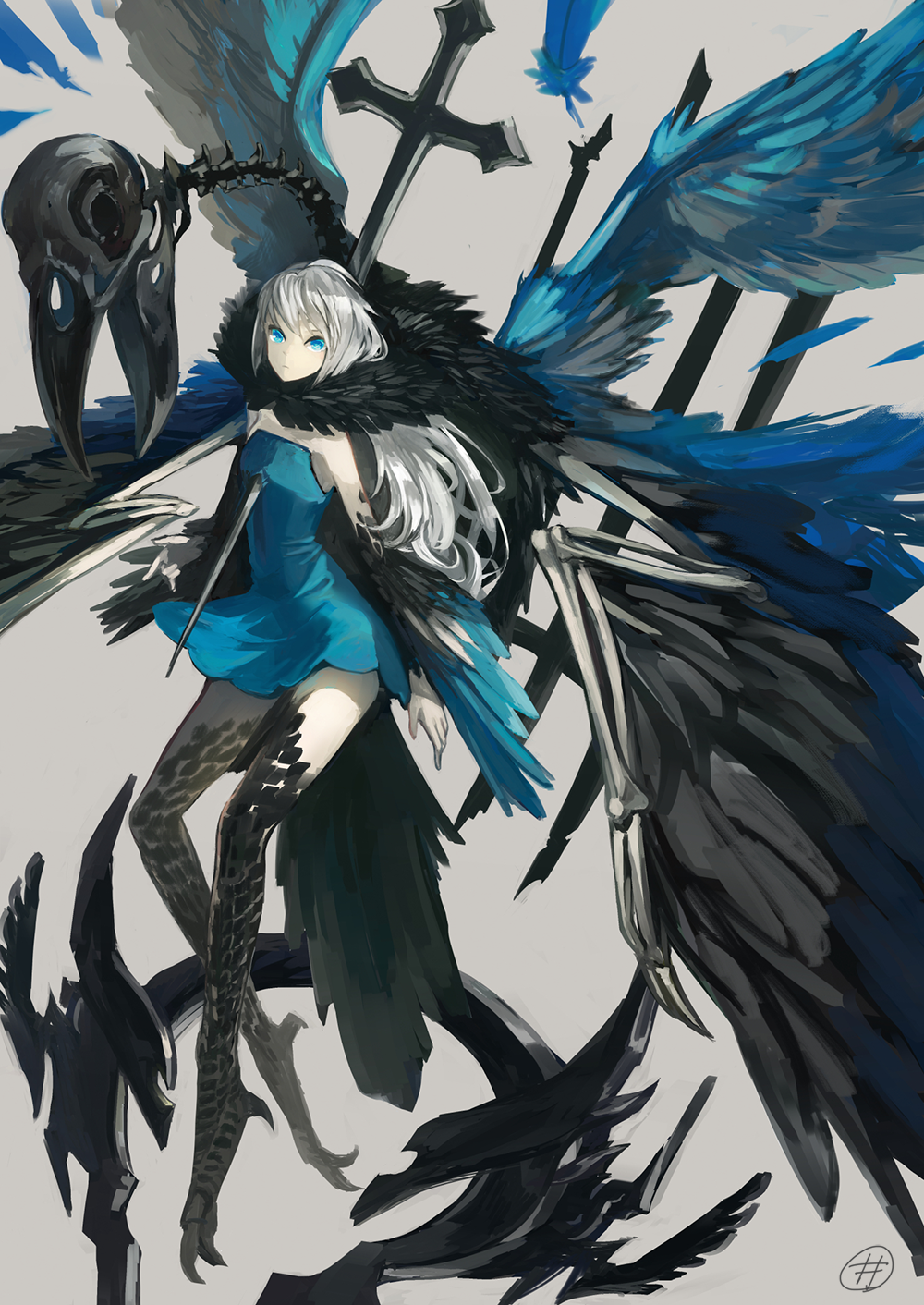 1girl bare_shoulders bird_skull black_wings blue_dress blue_eyes blue_feathers blue_wings closed_mouth cross dress feather_trim feathered_wings feathers flying grey_background highres impaled long_hair mrpk multiple_wings original signature simple_background skeleton solo talons white_hair wings