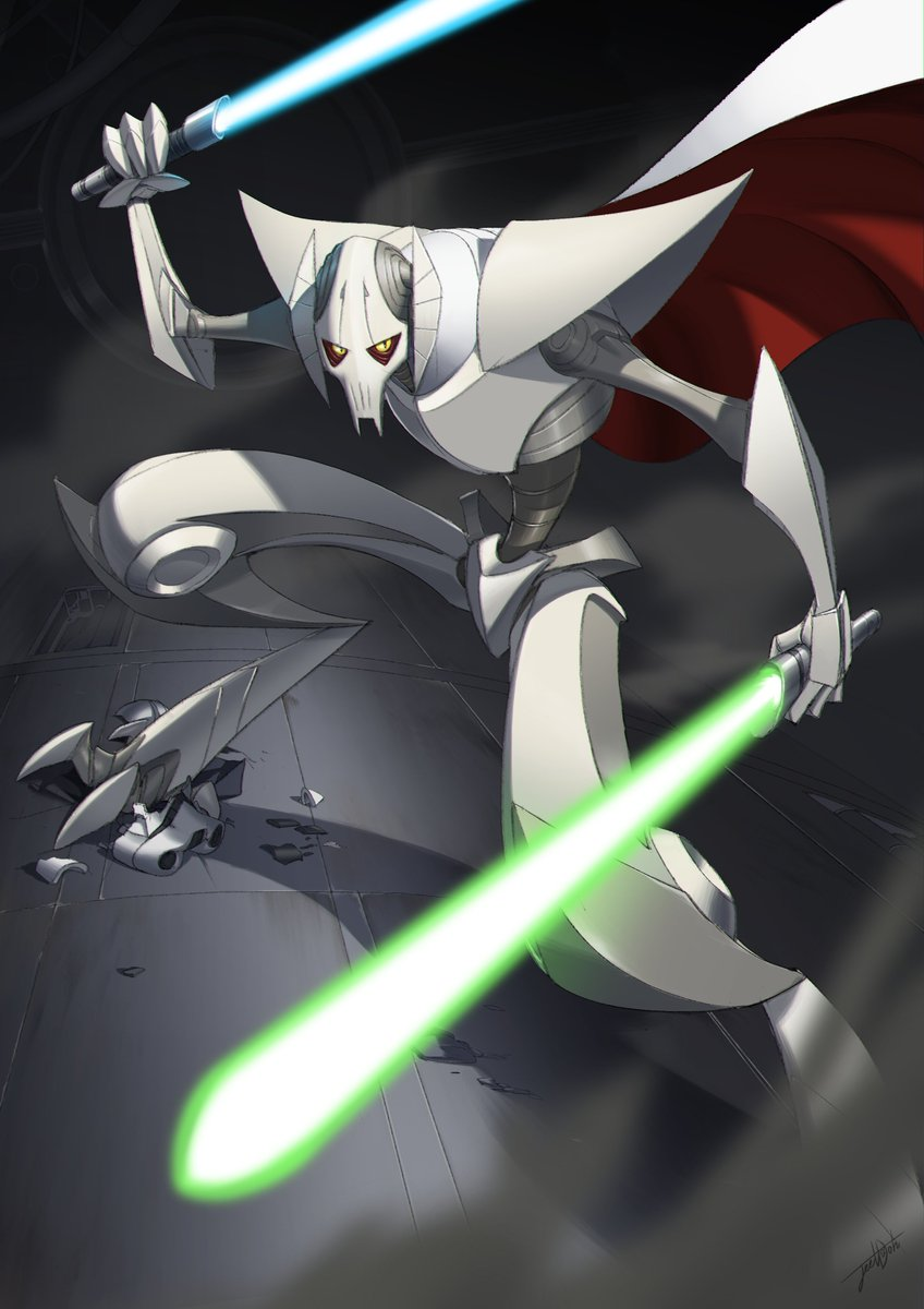 1boy alien billowing_cape cape dual_wielding energy_sword english_commentary general_grievous highres holding holding_sword holding_weapon hunched_over jeetdoh lightsaber looking_up no_humans solo star_wars star_wars:_clone_wars sword weapon yellow_eyes