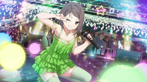 22/7 armpits blush brown_hair dress hiiragi_tsubomi red_eyes short_hair smile wink