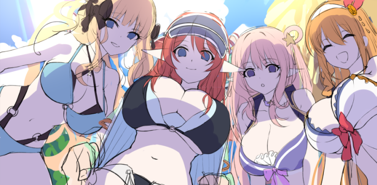 4girls breasts from_below hair_ornament hatsune_(princess_connect!) highleg highleg_swimsuit large_breasts long_hair looking_at_viewer misato_(princess_connect!) multiple_girls pecorine_(princess_connect!) pointy_ears princess_connect! princess_connect!_re:dive ribbon saren_(princess_connect!) sketch smile swimsuit twintails xiujia_yihuizi