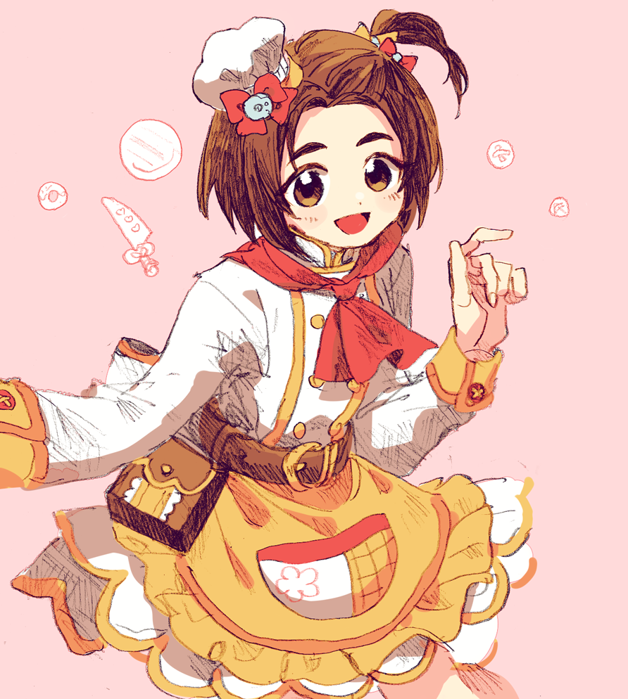 1girl :d belt bow brown_hair character_request chef_hat double-breasted graphite_(medium) hair_bow hat idolmaster idolmaster_cinderella_girls jacket ka_(marukogedago) long_sleeves looking_at_viewer mixed_media one_side_up open_mouth pouch red_bow red_scarf scarf short_hair skirt smile solo traditional_media white_jacket yellow_skirt